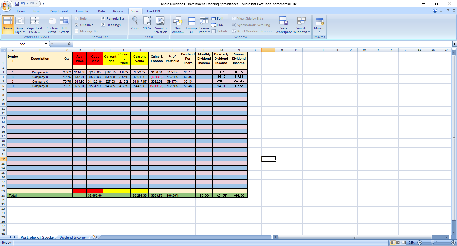 More Dividends Investment Tracking Spreadsheet